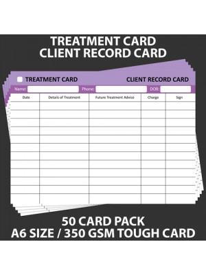 POSH PANDA CLIENT RECORD CARD TREATMENT CARDS - 50 PACK