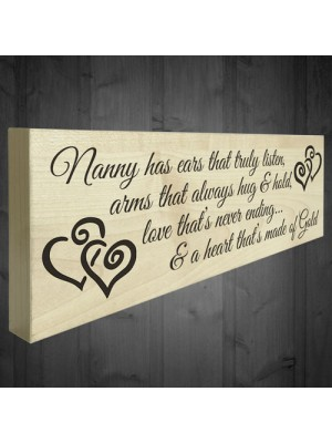 Nanny Heart Of Gold Wooden Freestanding Plaque Love Gift Sign
