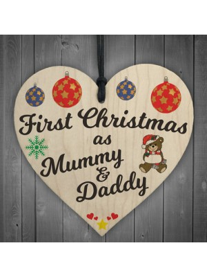 First Christmas Mummy Daddy Wooden Hanging Heart Plaque