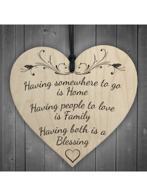 Home Family Blessing Wooden Hanging Heart Plaque