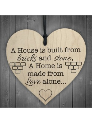 A Home Is Made From Love Wooden Hanging Heart Plaque