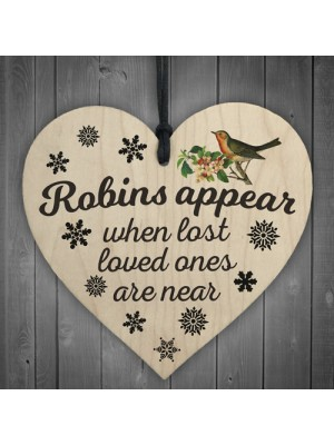 Robins Appear Wooden Hanging Heart Memorial Christmas Plaque