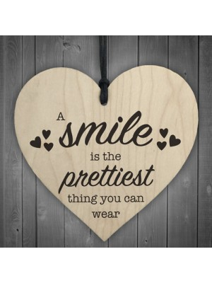 Smile Is The Prettiest Thing Wooden Hanging Heart Plaque