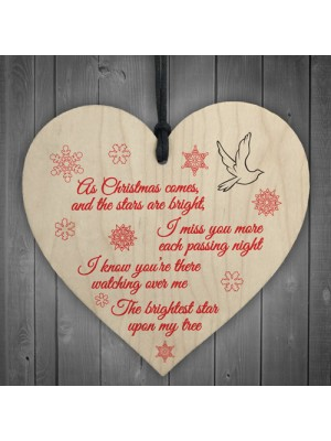 Brightest Star On My Tree Wooden Hanging Heart Memorial Plaque