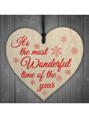 Most Wonderful Time Of The Year Wooden Hanging Heart Plaque