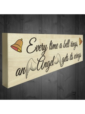 Bell Rings Angel Wings Wooden Freestanding Plaque Memorial Sign