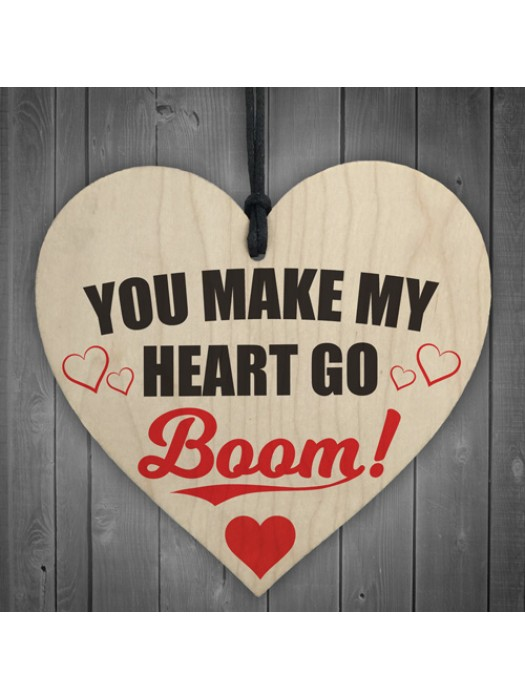 Heart Go Boom Wooden Hanging Heart Shabby Chic Plaque