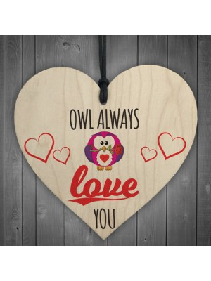 Owl Always Love You Novelty Wooden Hanging Heart Plaque