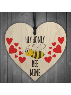 Honey Bee Mine Wooden Hanging Heart Gift