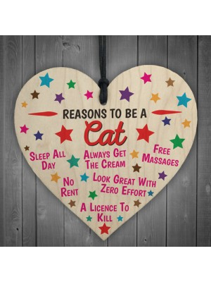 Reasons To Be A Cat Wooden Hanging Heart Novelty