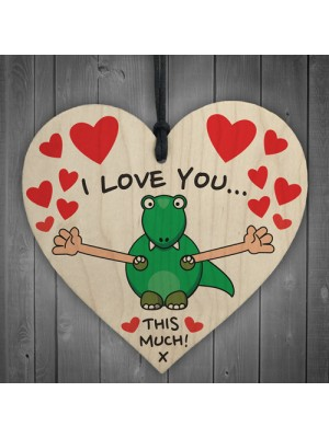 I Love You This Much Novelty Wooden Hanging Heart Plaque