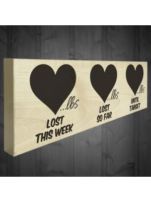 Weight Loss Record Wooden Freestanding Plaque Progress Sign