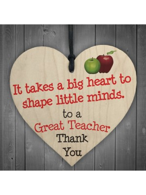 Great Teacher Big Heart Wooden Hanging Heart Thank You Plaque