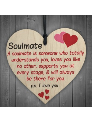 Soulmate I Love You Hanging Wooden Heart Valentines Day Gift