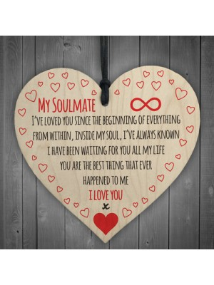 My Soulmate I Love You Wooden Hanging Heart Plaque