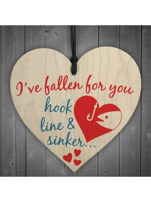 Fallen For You Hook Line Sinker Wooden Hanging Heart