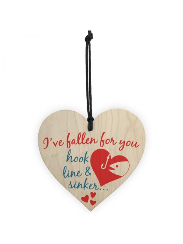 Fallen For You Hook Line Sinker Wooden Hanging Heart