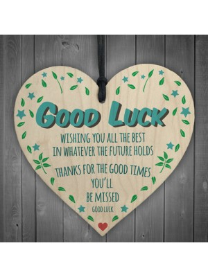 Good Luck You'll Be Missed Wooden Hanging Heart Leaving Gift