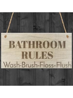 Bathroom Rules Wooden Hanging Plaque