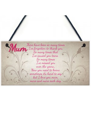 Mum I Love You More And More Each Day Hanging Plaque
