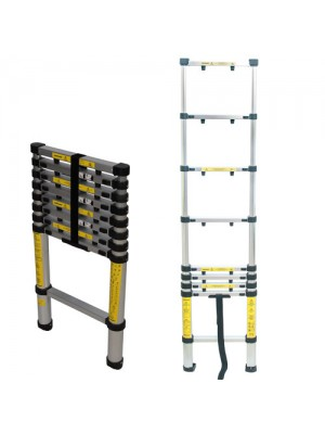 Silverline Telescopic Ladder 9 Rung Lightweight Aluminium 2.6m
