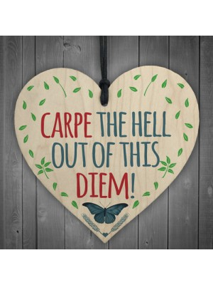 CARPE The Hell Out Of This DIEM! Motivational Hanging Heart Gift