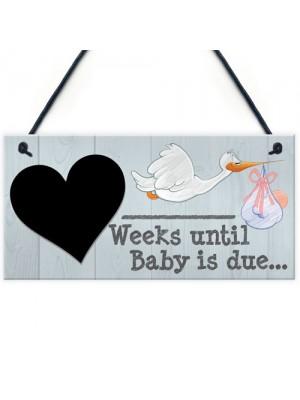 Weeks Until Baby Is Due Chalboard Hanging Plaque