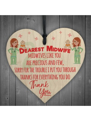 Dearest Midwife Thank You For Everything Hanging Heart Gift Sign