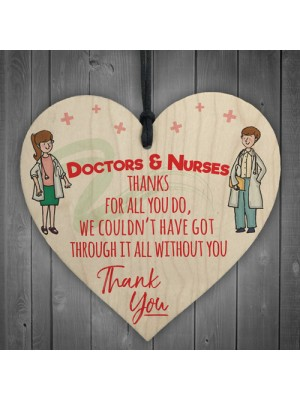 Doctors And Nurses Thank You Wooden Hanging Heart Gift Sign