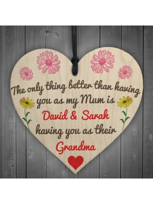 Better Than Mum Personalised Hanging Heart Mothers Day Gift Sign