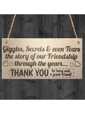 Giggles Secrets And Tears Friendship Hanging Plaque Sign Gift