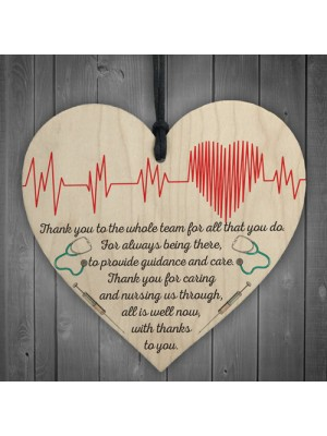 Thank You Is Well Now Doctors & Nurses Thank you Heart Gift Sign