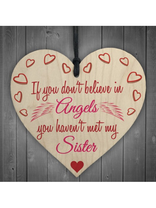 My Sister An Angel Wooden Hanging Heart Cute Love Plaque
