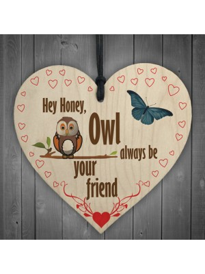 Owl Always Be Your Friend Hanging Heart Plaque Sign Gift
