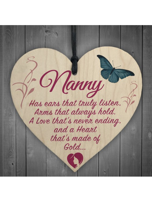 Nanny Heart Of Gold Hanging Wooden Heart Plaque Sign Gift