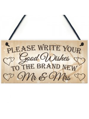 Good Wishes New Mr & Mrs Wedding Table Decoration Plaque