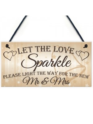 Let The Love Sparkle Cute Hanging Wedding Day Decoration Plaque