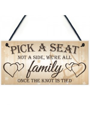 We're All Family Cute Hanging Wedding Day Message Plaque
