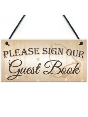 Please Sign Guest Book Wedding Day Hanging Decoration Plaque