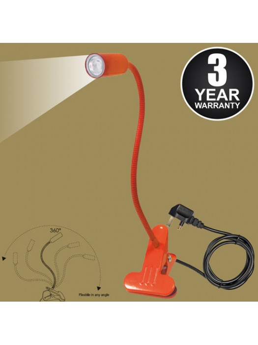White LED Flexible Reading Light Clip-on Bed Table Desk - Orange