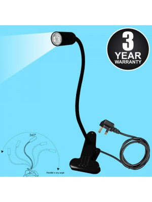 White LED Flexible Reading Light Clip-on Bed Table Desk - Black