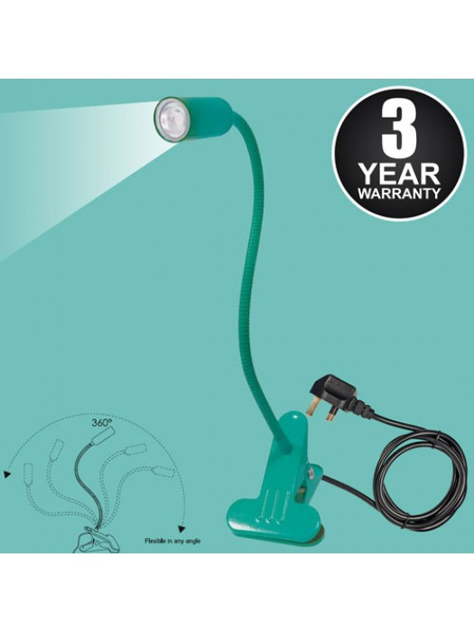 White LED Flexible Reading Light Clip-on Bed Table Desk - Teal