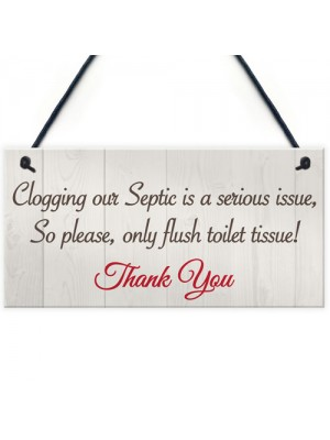 Only Flush Tissue Hanging Bathroom Plaque Toilet Thank You Sign
