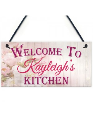 Personalised Kitchen Welcome Hanging Plaque