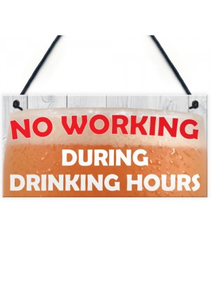 No Working During Drinking Hours Funny Alcohol Hanging Plaque