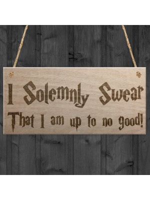 Solemnly Swear No Good Wizardry Hanging Plaque
