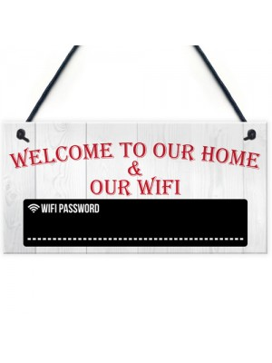 Welcome To Our Home & Wifi Chalkboard Gift Hanging Plaque