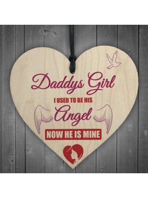 Daddy's Girl Father's Day Gift Angel Hanging Wooden Heart
