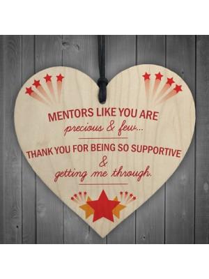 Thank You Mentor Teacher Tutor Gift Hanging Wooden Heart