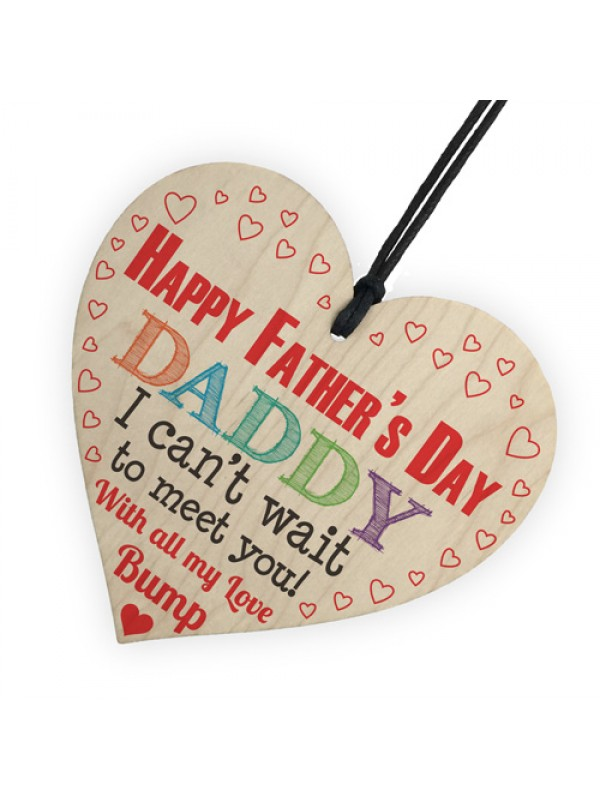 Happy 1st Father's Day From Bump Daddy Dad Gift Wooden Heart